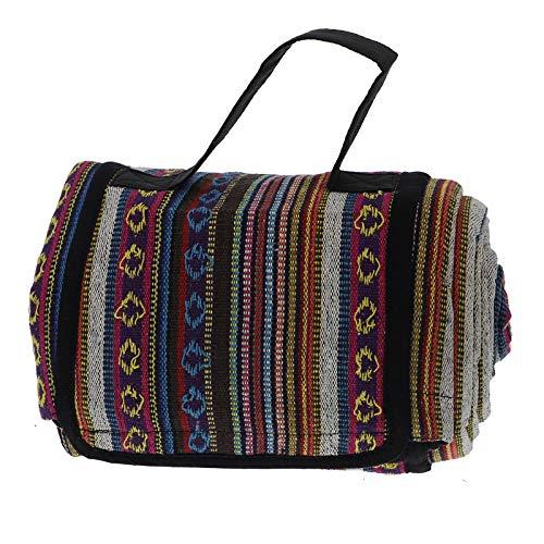 KUNST UND MAGIE handgewebte Familien Picknickdecke mit Azteken Muster mit Tragegriff, Farbe:Rainbow