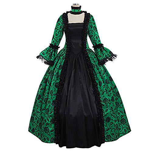 Fiesta Navidad Carnaval Vestido Vintage,Elegante Vestido Noche de Estilo Medieval,Vestido de Corte Vintage, Vestido Medieval-Verde_L