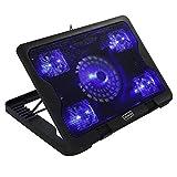 Tosuny Almohadilla de enfriamiento, Enfriador portátil ultradelgado para computadora portátil con 5 Ventiladores, Base Universal Universal silenciosa para portátil con LED Azul con Puerto USB Dual