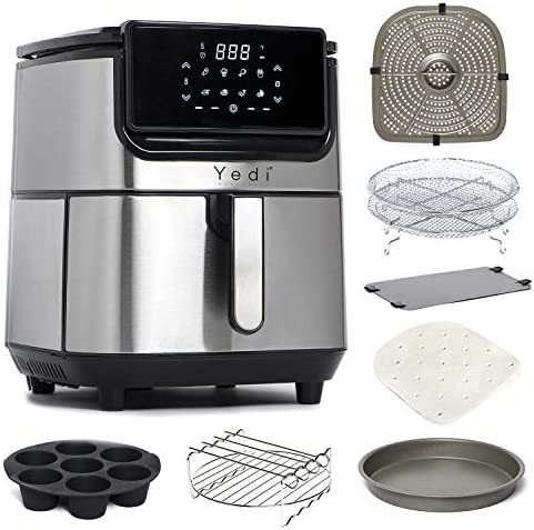 Yedi Evolution Air Fryer 6 8 Quart Stainless Steel Ceramic Cooking Basket with Deluxe Accessory product image