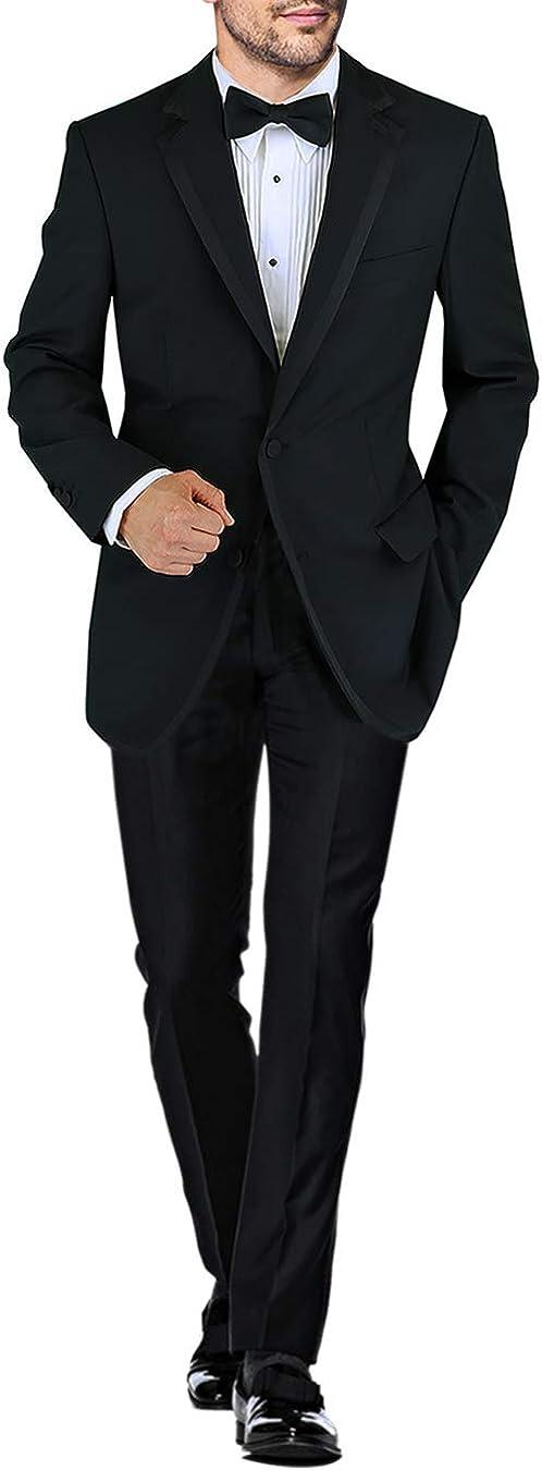 DTI BB Signature Men's Black Two Button Notch Lapel Wool Tuxedo Suit