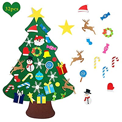 Autiy Kids DIY Felt Christmas Tree Set Wall Hanging Detachable Ornaments 32pcs Xmas Gifts Children Friendly Christmas Home Decorations 3.1FT (32Pcs Christmas)