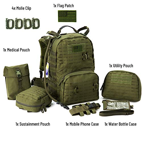 MILITARY Tactical Backpack, Medium Molle Rucksack,Army Day Hydration Pack with Sustainment and Medical Kits Pouch Olive Drab