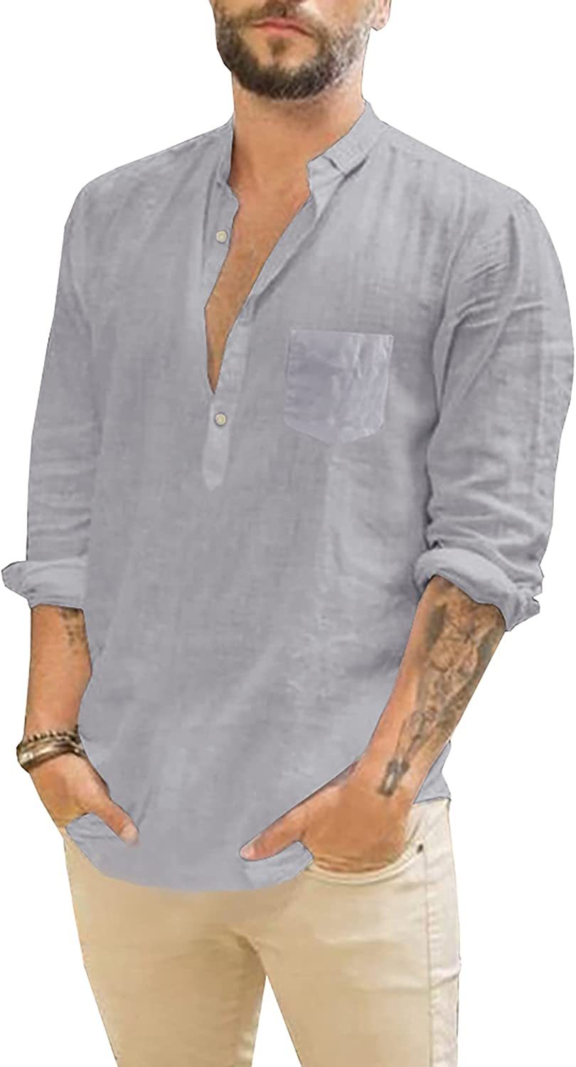 PASLTER Mens Import Casual Henley Shirt Sleeve Lapel NEW before selling Lightw Collar Long