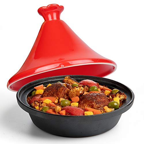 Tagine Moroccan Cast Iron 4 qt Cooker Pot- Caribbean One-Pot Tajine Cooking with Enameled Ceramic Lid- 500 F Oven Safe Dish