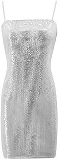desolateness Womens Fashion Sexy Sequins Solid Color Slim Fit Bodycon Suspender Mini Dres