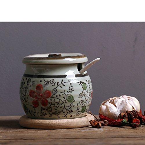 DKOSHDUISHKG Vaso di condimento Giapponese Antico della Porcellana Cucina Creativa ampolla Saliera Zuccheriera Pepe Serbatoio di stoccaggio Vaso di Ceramica della Spezia-L