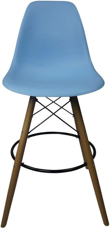 DSW Bar Eiffel Chair Counter Stool, Natural Light Walnut Wood Legs