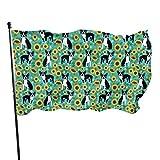Bandera de jardín para exteriores con ojales de latón, girasoles de Boston Terrier, flores lindos perros mosca bandera interior decoración del hogar