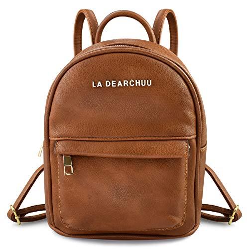 La Dearchuu Mini Rucksack Damen Leder Klein Rucksack, Mini Rucksack Daypack mit...