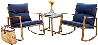 SUNCROWN Outdoor Rocking Chair 3-Piece Patio Bistro Set: Grey Wicker Patio Furniture with Wood-Grain Arm Rest - Two Chairs with Glass Coffee Table (Nautical Navy Cushion)