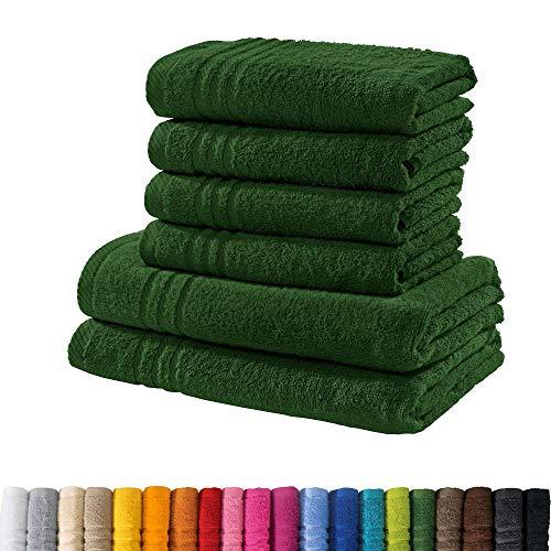 REDBEST Handtuchset, Frottierset New York 6-TLG. dunkelgrün - leichte, weiche Qualität, saugstark, sehr strapazierfähig, 100% Baumwolle (weitere Farben)