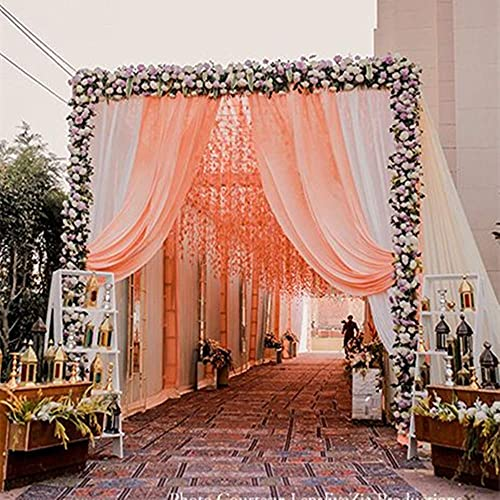 Chiffon Backdrop Curtain 9.8ft x 8ft Sheer Backdrop Drapes Light Peach Spring Outdoor Decorations