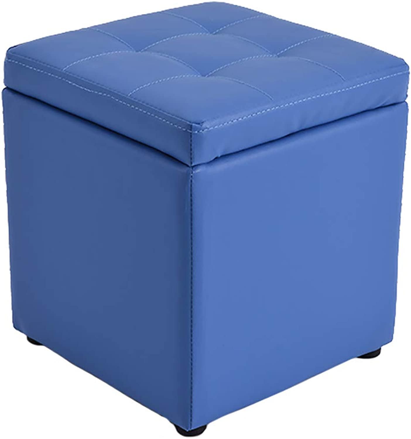 ZfgG Multi-Function Storage Stool Toy Storage Finishing Box Change shoes Bench Sofa Stool Living Room Bedroom (color   bluee)