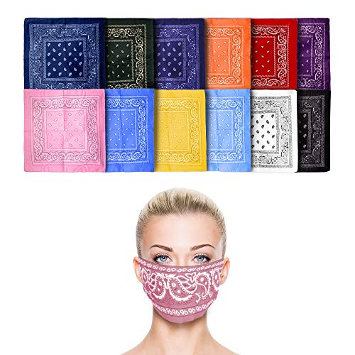 Fun Central 12 Pack Bandanas in Bulk for Men, Women, Kids & Dogs - Cowboy Party Favors Supplies - Assorted Color