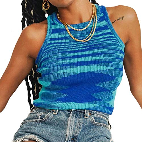 Women Basic Ribbed Knit Tie Dye Tank Top Crew Neck Sleeveless Crop Top Y2K Summer Camisole Vest Top (Blue, M)
