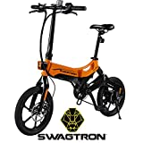 Swagtron EB7 Plus Folding Electric Bike with Removable Battery & 7-Speed Shimano | Pedal-Assist eBike with Suspension & 16-Inch Tires | 350W Motor – Extended 19-Mile Range