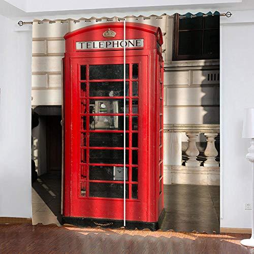 LucaSng Rojo Cortinas Salon Modernas 2 Piezas Cabina De Teléfono Cortinas Opacas 3D Patrón Cortinas Infantiles habitacion Opacas con Ojales 132x160 cm