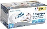 Seko 211003760080 Recharges universelles Galet percé Neutre, Blanc, Set de 4 Pièces