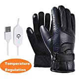 Luccase USB Electric Heated Gloves Winter Hands Warmer Waterproof Thermal Gloves for Motorcycle Skiing Climbing Camping Riding - Great Lover/Friends/Parents/Elders Gift