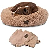 Pet Craft Supply Ultra Plush Calming Anti-Anxiety Pet Bed - Includes Super Soft Comfort Blanket - Great Medium Dog Bed Small Dog Bed Cat Bed Puppy Bed