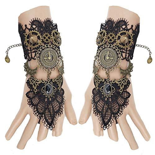 Juland Gothic Handstulpe mit Brosche Victorian Steampunk Handgelenk Cuff Perlen Uhr Handschuhe Gear Armband Strass Ring Set für Hochzeit Braut Halloween Fasching Accessoires - 1 Paar -S392