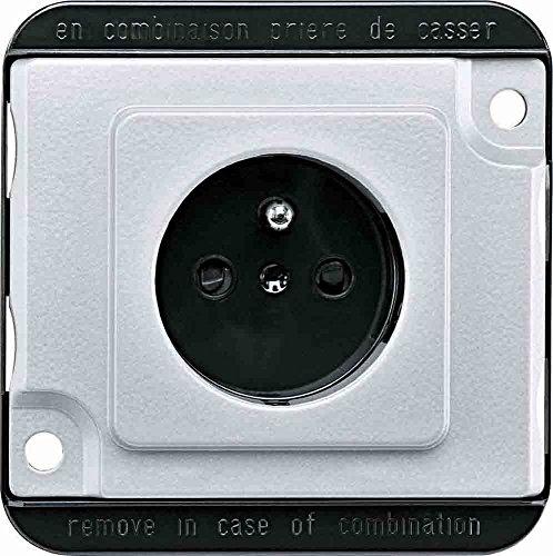 Merten MEG2500-7060 stopcontact met randaarde pin, BRS, stekkerklemmen, matzilver, PANZER