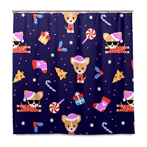 Duschdraperi för badrum med 12 krokar, lätt hållbar vattentät uppsättning 153 x 183 cm / 60 x 72 tum söt jul cool hund - tecknad lila djur