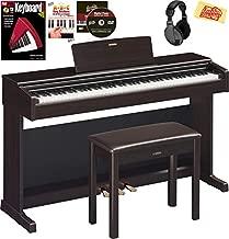 Yamaha Arius YDP-144 Console Digital Piano - Rosewood Bundle with Furniture Bench, Headphones, Keyboard Stickers, Instructional Book, Austin Bazaar Instructional DVD, and Polishing Cloth