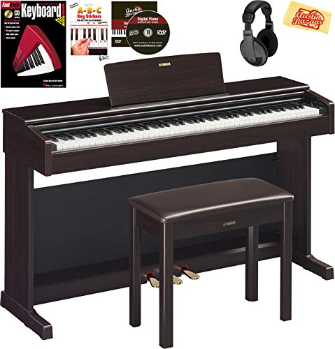 Yamaha Arius YDP-144 Console Digital Piano - Rosewood Bundle with Furniture Bench, Headphones, Keyboard Stickers, Instructional Book, Austin Bazaar Instructional DVD, and Polishing Cloth
