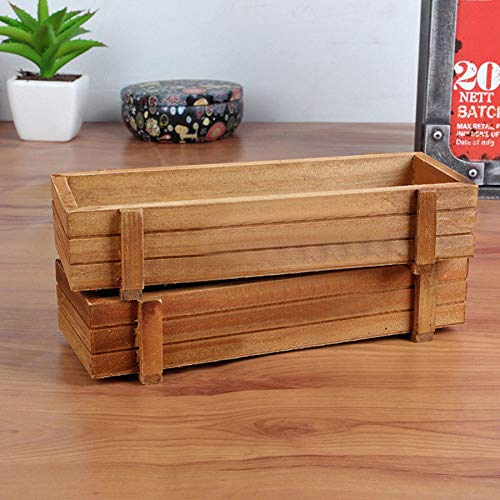 Danigrefinb Pot de fleurs rectangulaire en bois pour plantes succulentes, intérieur ou extérieur, fournitures de jardinage – Couleur bois