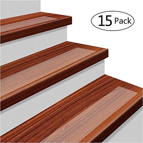 15 x Antirutschstreifen Treppe Set Anti Rutsch Selbstklebende Stufenmatten Transparent Rutsch Streifen als Rutschschutz Treppenstufen Matten (Transparent)