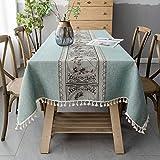 Pahajim Mantel Antimanchas Algodon Lino Elegante Impresos Manteles Resistente Borlas Table Cloth Exterior Rectangular Decorativo para Reuniones Familiares de Cocina(Verde,140x140cm)