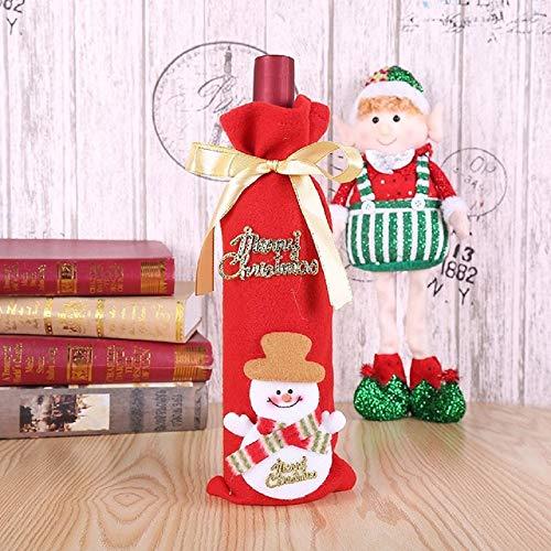 pZgfg Christmas Hat Decoraciones Navideas Botella De Vino Tinto Champagne Bottle Cover Set Pap Noel Sombrero Traje Fiesta De Navidad Cena Decoracin De Mesa, Mueco De Nieve