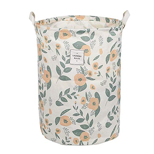 UUJOLY Collapsible Laundry Basket Laundry Hamper with Handles Waterproof Round Cotton Linen Laundry Hamper Printing Household Organizer Basket 197x157 inches Green