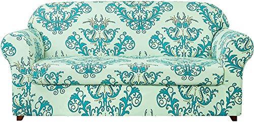 Pillowcase 2-teilige universelle Sofabezüge, Jacquard Stretch Sofabezug Sesselbezüge 1 2 3 4-Sitzer Polyester Spandex Blumenmuster Couch Schonbezug (Grün, 1 Sitzer/Stuhl)