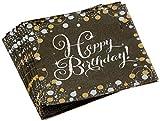 amscan 9901176 16 Servietten Happy Birthday Sparkling Celebration, Schwarz/Silber