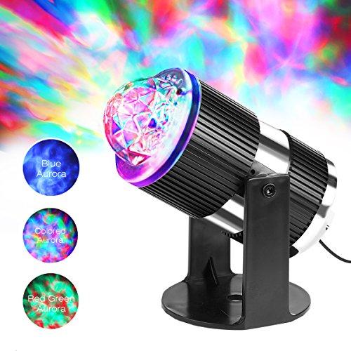 Luce d'atmosfera a LED per proiezione LED Rosso-verde-blu Luce a forma di Aurora mobile per Natale, vacanza, festa, luce rilassante per interni ed esterni, luce per il bebè, luce d'ambiente per coppia