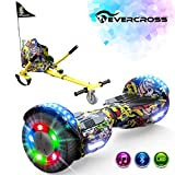 EverCross Hoverboard, 6.5' Two-Wheel Self Balancing Hoverboard with Seat Attachment, Electric Hoverboard Scooter with Seat & Bluetooth & Colorful LED Light, Hoverboards for Kids and Adults