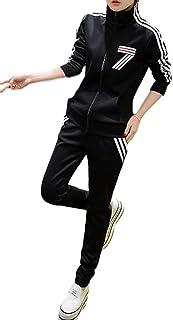[ウィトパ] 春夏 ジャージ スポーツ ウェア 上下 セット 立て襟 伸縮 ジップアップ 黒 ロゴ ワンポイント サイド ライン レディース