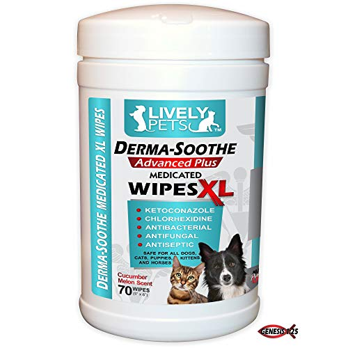 Lively Pets Derma-Soothe Advanced Plus Medicated XL Wipes - 70 ct Extra Large - Chlorhexidine and Ketoconazole; Antifungal and Antibacterial Medicated Pet Wipes for Dogs Ringworm and Yeast Infections