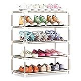 YUEBAOBEI Zapatero Apilable con 5 Niveles, Organizador Calzados para Espacios Pequeños para 15 Pares Zapatos, Zapatero con Prueba Polvo Impermeable, Ahorrar Espacio, Montaje Rápido