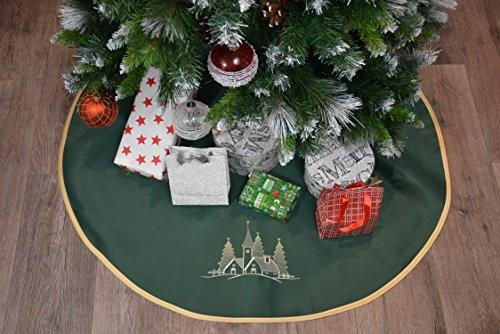 VonKnaub Weihnachtsbaumdecke Christbaum Weihnachtsbaumunterlage Christmas Weihnachten Christbaumunterlage Christbaumständerhülle Bestickt Klettverschluss Geschenk Idee ca.90 cm Grün