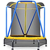Zupapa 54 inch Indoor Small Trampoline for Kids Children Ultra Quiet Mini Toddler Baby Trampoline with Enclosure Net Bungee Cords Trampoline with Flower Modelling (Blue, 4.5ft)… (54inch)