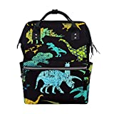 Diaper Bag Mummy Dad Dinosaur Black Tote Backpack Travel School Boy Girl Large