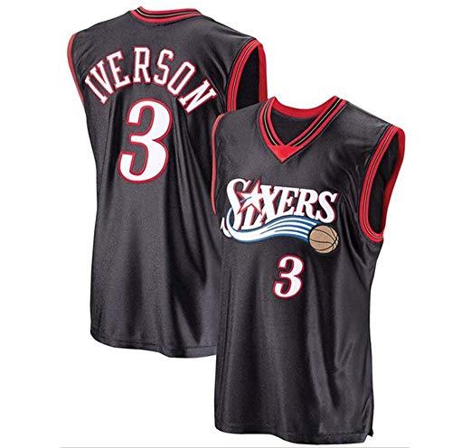 CXJ Maglia NBA da Uomo, Allen Iverson # 3 76Ers Fan Jersey Maglietta da Basket Maglietta Ricamata Fine Abbigliamento Sportivo Senza Maniche,XL