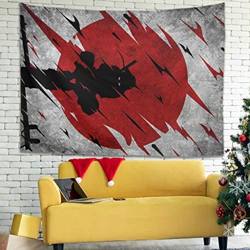 Hothotvery Tapiz Anime japonés rojo sol Itachi tapiz de pared impreso suave agradable a la piel manta de pícnic tapiz de pared decoración para dormitorio dormitorio blanco 150 x 150 cm