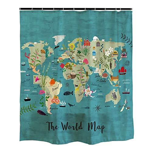 EdCott Mapa Mundial Animales con Ciudades Importantes detalladas para niños y educación Infantil Cortinas baño fáciles Limpiar para baño y baño Cortinas Hotel Animales Dibujos Animados