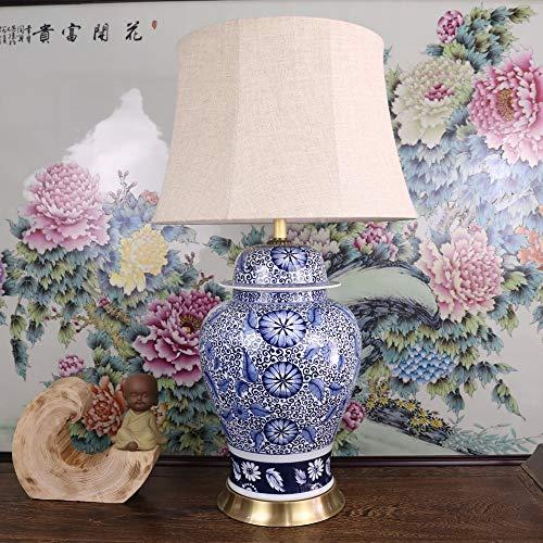 Lámpara de mesa vintage azul y blanco de porcelana cerámica lámpara de mesa espaciosa salón lobby decorativa lámpara de mesa china American Retro Salón completo lámpara de mesa de cobre