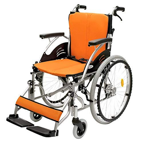 ケアテックジャパン 自走式 アルミ製 折りたたみ 車椅子 ハピネス オレンジ CA-10SU